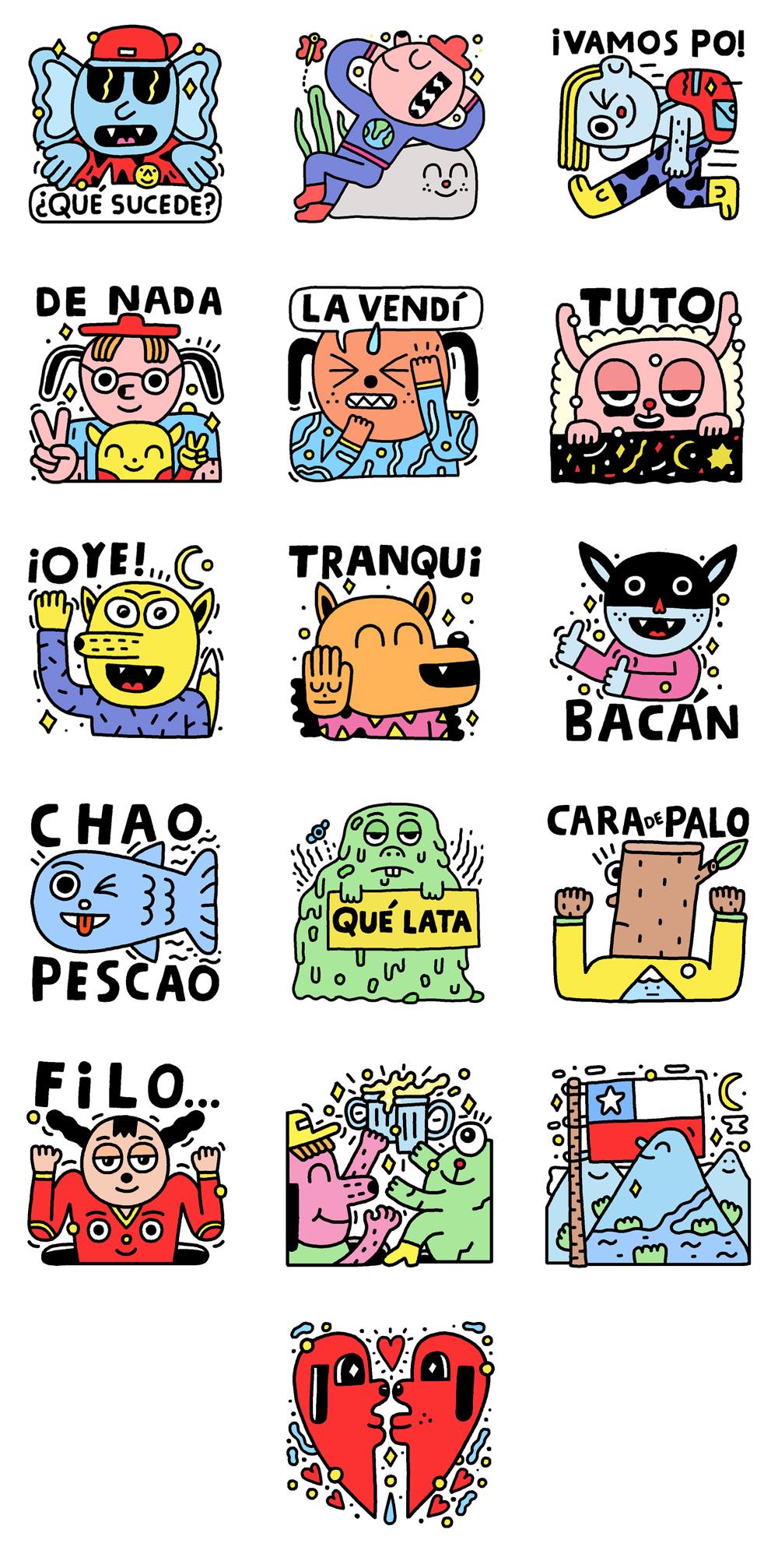 take it easy stickers for facebook pablo delcielo illustrator