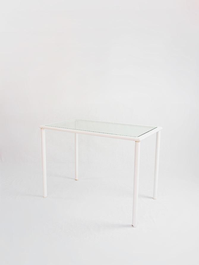 Mesa con sobre de cristal 100 x 60 passeu passeu for Mesa cristal 150 x 60
